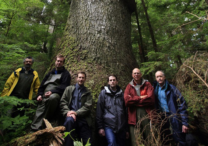 Guitar Makers in Front of Tree in the Tongass